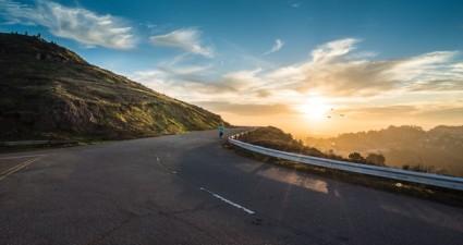road-dawn-mountains-sky